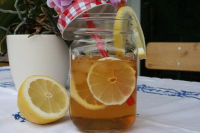 Eistee Rezepte: Früchteteecocktail Birnengarten Organge