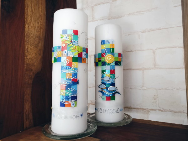 künstlerische Taufkerze für Jungen und Mädchen