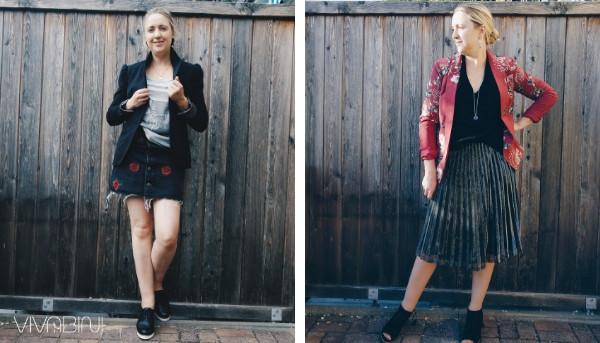 Blazer mit Rock kombinieren Outfit