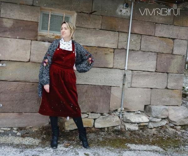Latzkleid wie kombinieren-Beispiel Bluse und Cardigan