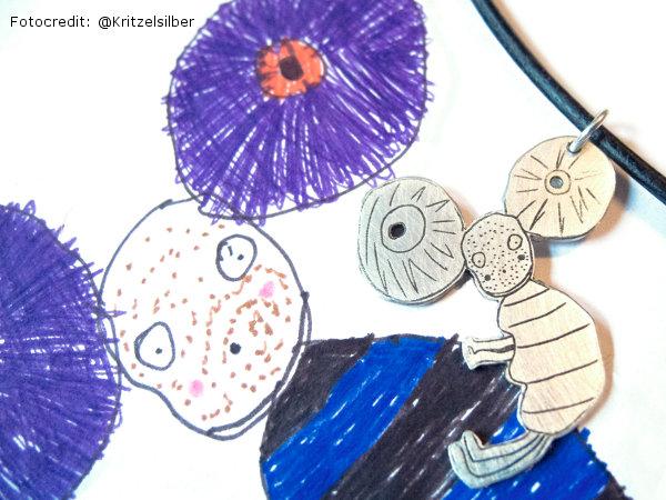 Schmuck aus Kinderzeichnung von Kritzelsilber