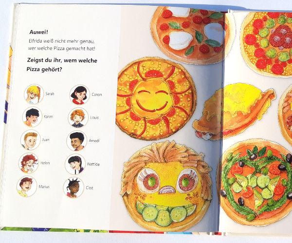 Rätselseite im Kinderbuch Pizza für Elfrida